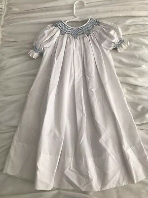 Sweet Angela By Rosalina Size 2T Embroidered Smocked White Bishops Dress