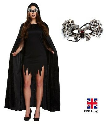 BLACK VAMPIRE BAT CAPE COSTUME Ladies Mens Halloween Fancy Dress Outfit Party UK