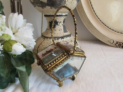 Fabulous Antique French Double Sided Bevelled Glass, Ormolu, Jewellery Casket