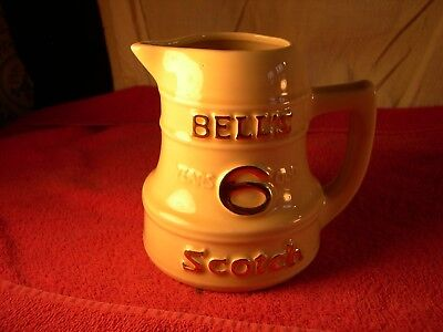 "Vintage ""Bell's Scotch"" Whiskey Advertising Ceramic Pitcher Heublein HARTFORD CT"