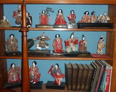 lot of 15 Edo period Japanese dolls collection wood and cloth