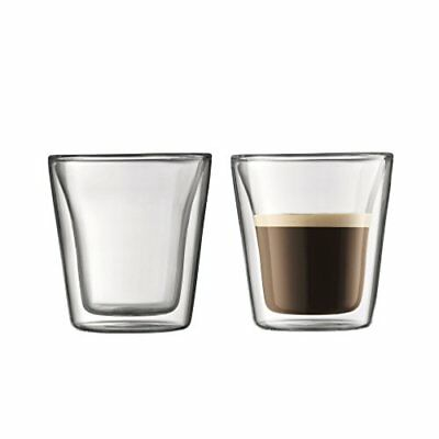 Bodum Canteen Double Wall Glass Set, Mouth Blown Borosilicate Glass - 0.1 L, Tra