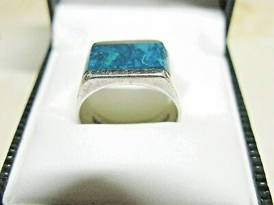 Vintage Native American Sterling Silver Turquoise Ring UK P - US 7&3/4