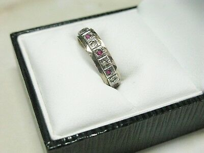 Vintage Sterling Silver & Gold Ruby & Clear Stone Ring UK L - US 5&3/4