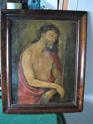 Original Antique Oil Painting On Tin With Image Of Jesus With Crown Of Thorns