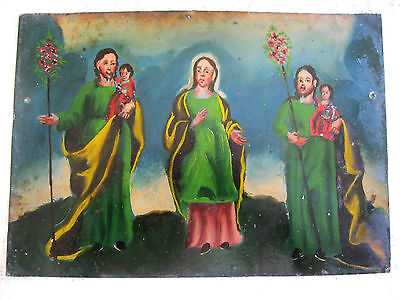 Antique Retablo On Tin Image Of Our Lady With Image Of St Joseph On Each Side