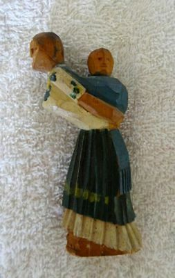 Very Old Antique Primitive Hand Carved Wood Pioneer Woman w/ Papoose Child