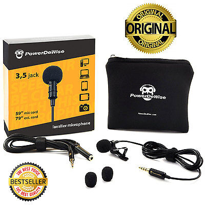 SALE! PowerDeWise Grade Lavalier Lapel Microphone, Perfect for Recording Youtube