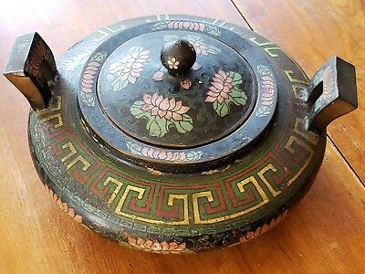 19th Century Bronze and Enamel Chinese Censer with Two Character Ming Mark
