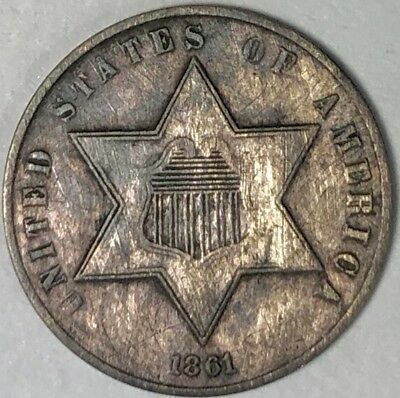 Beautiful 1861 Three 3 Cent Silver Piece Great Looking, Shape Details