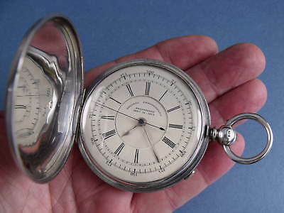 Rare Silver Hunter Fusee Decimal Chronograph Pocket Watch 1875 - Gwo
