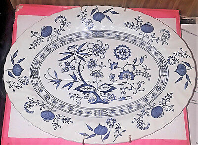 Johnson Brother-Blue Nordic Oval Serving Platter-Collectable-273965