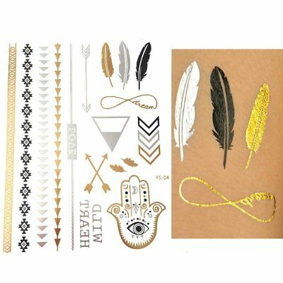 Temporary Metallic Tattoos Boho Designs Gold Silver and Black intricate Feathers