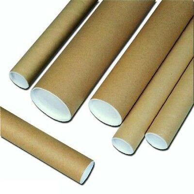 Cardboard Postal Postage A3 Tubes 330Mm X 76Mm With End Plastic Caps White