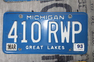Vtg Michigan Great Lakes License Plates Circa 80's 90's 410 RWP 989 AHH 333 PBL