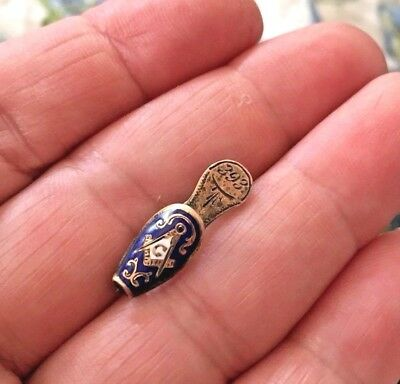Antique 14K GOLD Freemason Masonic WIDOWS SLIPPER PIN w/ Wonderful Enameling .9g