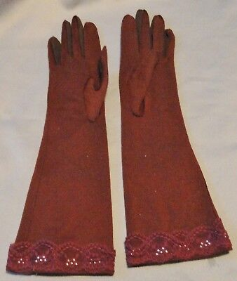 Vintage Ladies 3/4 Length Gloves Hand Made With Lace, Sequins, Two Tone Fingers