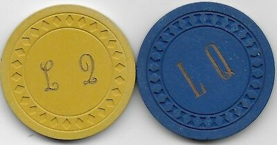 2 Casino Chips From The Illegal Club LATIN QUARTER-Newport, Ky. CG108038-108041