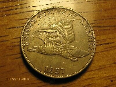 1857 1C Flying Eagle Cent Choice Better Grade Extra Fine XF+ Nicer than photos!