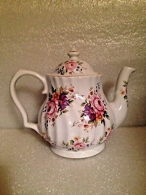 Gorgeous Crown Victorian Staffordshire Teapot Roses & Carnations Violets Daisies