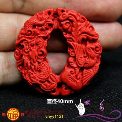 Natural Red Cinnabar Carving Lacquer Chinese Dragon Phoenix Pendant For Necklace