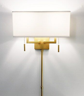 Matte Ant.Gold Modern Wall Sconce Fixture with Rect. Shade, Hardwire or Plug-In