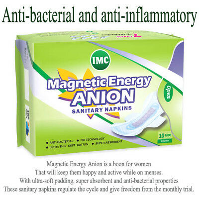 Magnetic Energy Anion Sanitary Napkins 10 Pads Per Pack Anti-Bacterial from IMC