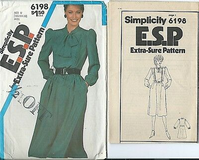 S 6198 sewing pattern 80's Pullover DRESS w/ tie collar sew sizes 16-18-20 UNCUT
