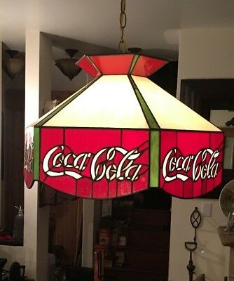 """Coca Cola Coke Stained Glass Swag Lamp Hanging 17"""" Excellent"""