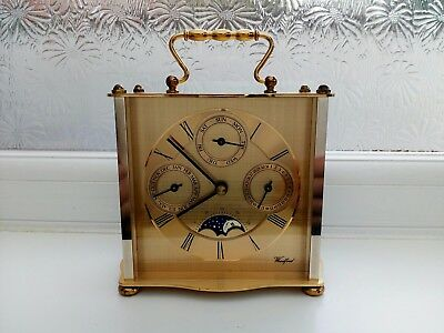 Vintage Woodford Triple Calendar Moonphase Brass Carriage Clock Hermle Movement