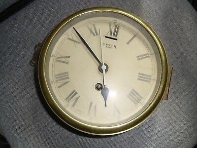 Nautical bulk head clock - brass and steel - 8 day wind up