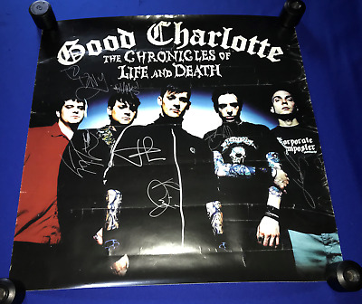 2004 HANDSIGNED Good Charlotte Chronicle Life Death PROMO POSTER autograph 24x24