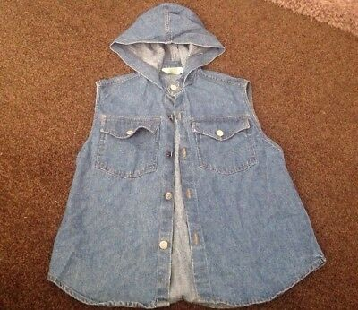 Lovely Blue Denim Waistcoat With Hood Age 5-6 From M&S