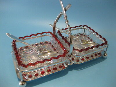 Beautiful Antique Silver Plate Cut Glass Twin Dish Condiment Server With Spoons