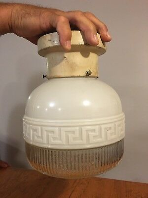 Vtg Mid Century Art Deco Fancy Frosted & Clear Globe Ceiling Light Fixture