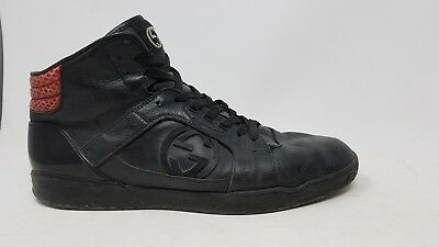 48aa131cfea Gucci Sneakers Black Red Hightop Designer Shoes 295322 10 G Leather US 11