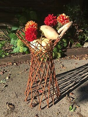 Wicker Rattan Plant Stand Holder VTG Boho Bohemain Mid Century MCM Expandable