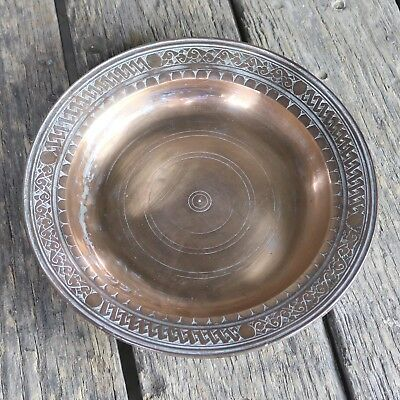 Turkish Ottoman Antique Copper Plate or Dish Hand Forged Hand Chiseled Tinned