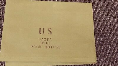 Original WWII US Manta for Pack Outfit J.Q.M.D. 1943 Dated 70x73 Canvas Tarp