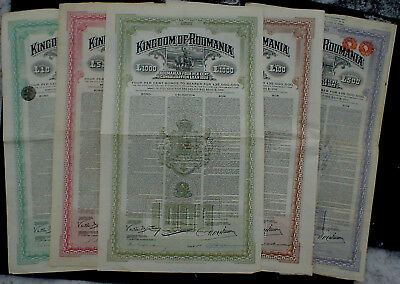 5 x Kingdom of Romania 7% 10 - 1000 P. Sterling Gold 1922 uncancelled + coupons