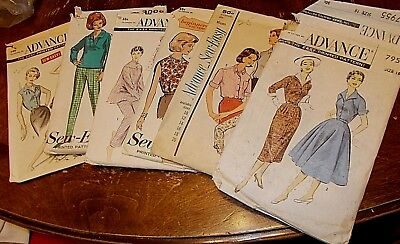 lot of 6 vintage sewing patterns Advance asst sizes ladies 7955 8511 7818 3011