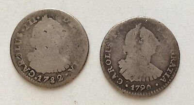 Bolivia 1782 and 1790 1 reales PR ~ ONLY 1 S/H FEE TODAY ~full dates