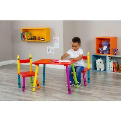 Crayon Table And Chair Set Solid Wood Children Work Play Indoor Furniture Colors