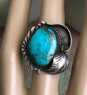 Navajo Old Pawn Sterling Silver Turquoise Applique Leaf Work Ring 7.5