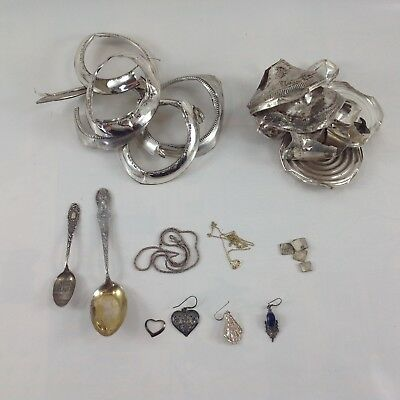 113g Lot Scrap Sterling Silver 925 - Candlesticks, Flatware, Jewelry, Contacts