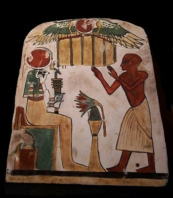 Ancient Egyptian  wooden stela after life scene