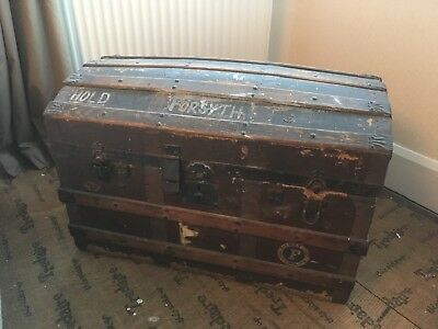 Vintage Wooden Shipping Chest In Need Of Some TLC