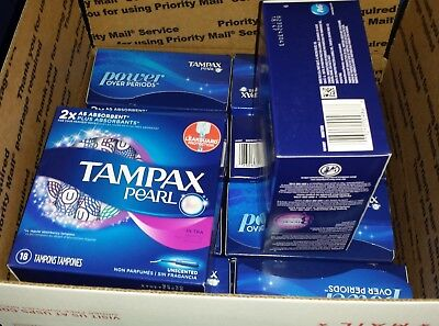 10 boxes Tampax Pearl Ultra Absorbency Tampons 18 count each box unscented