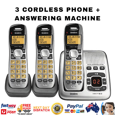 Uniden dect 1735+2: 3 Handsets Cordless Home Phone + Answer Machine Caller ID