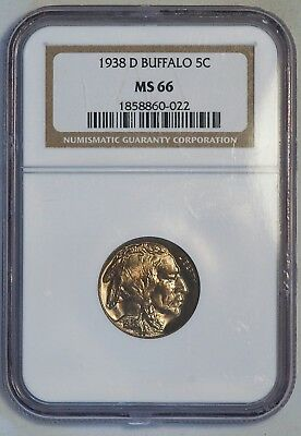 1938 D 5C US Buffalo Nickel Coin (NGC MS 66 MS66) (A4761)